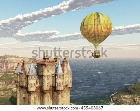 Scottish castle and fantasy hot air balloon Computer generated 3D illustration