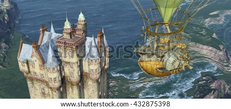 Scottish castle by the sea and fantasy hot air balloon Computer generated 3D illustration - stock photo