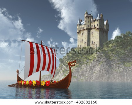 Scottish castle by the sea and Viking ship Computer generated 3D illustration