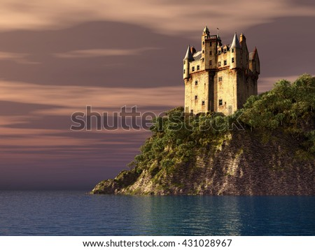 Scottish castle by the sea Computer generated 3D illustration