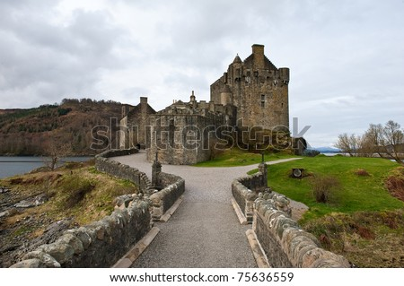 Scottish castle from the entrance - stock photo