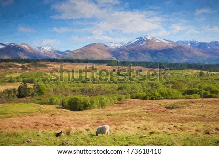 Scottish countryside and snow topped mountains Ben Nevis Scotland UK in the Grampians Lochaber Highlands near Fort William illustration like oil painting