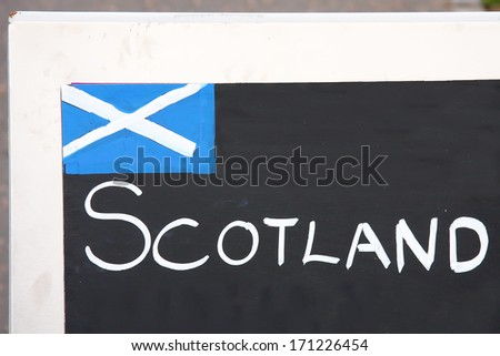 Scottish flag drawed on a blackboard in Edinburgh, Scotland. UK. - stock photo