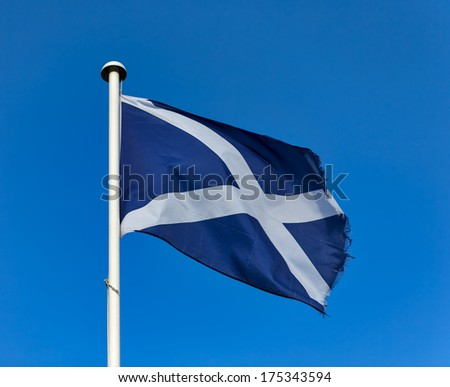 Scottish Flag. This is one of the Scottish Flags outside a local distillery in Moray, Scotland, United Kingdom.