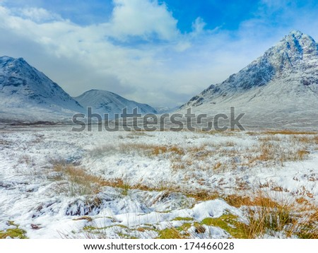 Scottish Highlands Scenic at Buachaille Etive Mor, Glencoe, Scotland - stock photo