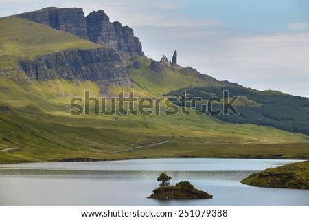 Scottish landscape in Trotternish peninsula. Skye isle. Scotland. UK - stock photo