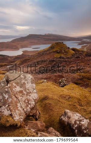 Scottish landscapes: Isle of skye at sunset - stock photo