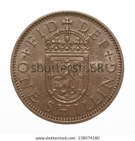Scottish lion rampant coat of arms 1958 Elizabeth II One Shilling Coin - stock photo