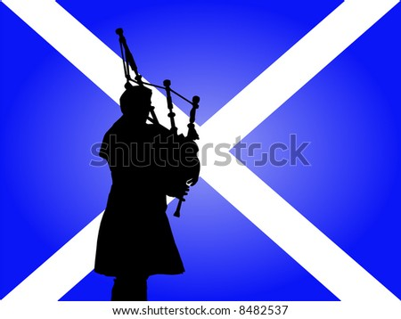 scottish man in kilt playing bagpipes with flag