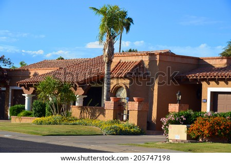 SCOTTSDALE ARIZONA APRIL 23: Beautiful home with interesting architectural detailing, south west spanish exterior. On april 23 2014 in Scottsdale Arizona USA - stock photo