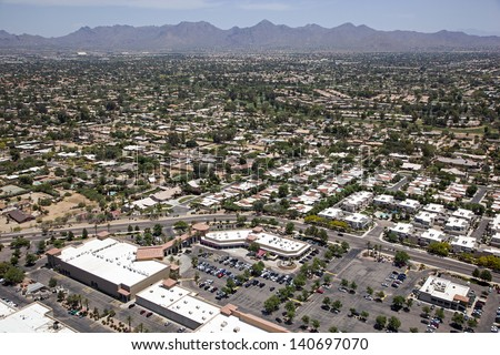 Scottsdale, Arizona restaurants and rooftops aerial view