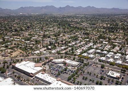 Scottsdale, Arizona restaurants and rooftops aerial view - stock photo