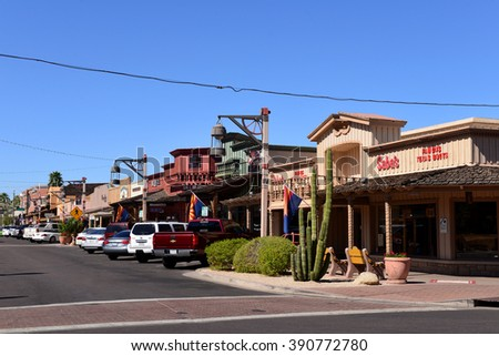 SCOTTSDALE, ARIZONA, USA - FEB 26, 2016:  The old western styled buildings on E Main Street of Old Town Scottsdale, a popular attraction for tourists and locals. - stock photo