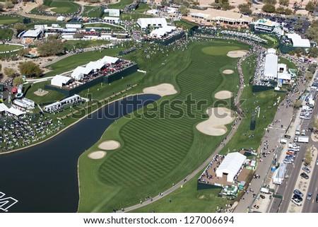 SCOTTSDALE, ARIZONA, USA-JANUARY 31, 2013-Aerial view of the Waste Management Phoenix Open on January 31, 2013 in Scottsdale, Arizona at the Tournament of Players Club Scottsdale (TPC) - stock photo