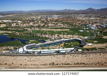 SCOTTSDALE, ARIZONA, USA-JANUARY 31:Aerial view of the Waste Management Phoenix Open on January 31, 2013 in Scottsdale, Arizona at the Tournament of Players Club Scottsdale (TPC)
