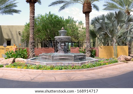 SCOTTSDALE, AZ - February 19, 2010: Fountain at The Spa at Camelback Inn, Scottsdale, Arizona. The spa offers skincare, facials, massage, hair and nail services and more.