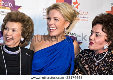 SCOTTSDALE, AZ - JANUARY 10: Childhelp co-founders Yvonne Fedderson and Sara O'Meara with Fox News anchor Megyn Kelly at the Childhelp Drive the Dream Gala on January 10, 2009 in Scottsdale, AZ. - stock photo