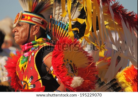 SCOTTSDALE, AZ - NOVEMBER 3: Dancers participate in the Annual Red Mountain Eagle Pow-wow presented by the Salt River Pima-Maricopa Indian Community on November 3, 2013 in Scottsdale, Arizona. - stock photo
