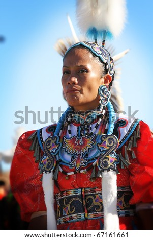 SCOTTSDALE, AZ - NOVEMBER 7: Dancers participate in the 24th Annual Red Mountain Eagle Pow-wow presented by the Salt River Pima-Maricopa Indian Community on November 7, 2010 in Scottsdale, Arizona. - stock photo