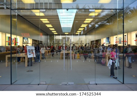 SCOTTSDALE, AZ - NOVEMBER 30: The Apple Store at the Scottsdale Quarter on November 30, 2013 in Scottsdale, AZ. The store opened at the Scottsdale Quarter in June of 2009.  - stock photo