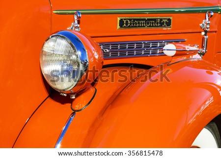 SCOTTSDALE, AZ - SEPTEMBER 5: Fender details on a Classic Diamond T Pickup Truck. - stock photo
