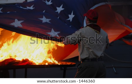 Scout flag retirement ceremony on Flag Day. - stock photo