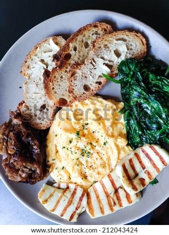 Scrambled eggs brunch - stock photo