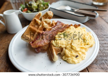 scrambled eggs with salad breakfast