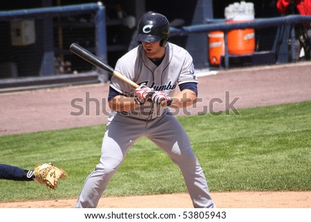 SCRANTON - MAY 13: An unidentified Columbus Clippers batter in a game against Scranton Wilkes Barre Yankees in a game at PNC Field May 13, 2010 in Scranton, PA - stock photo