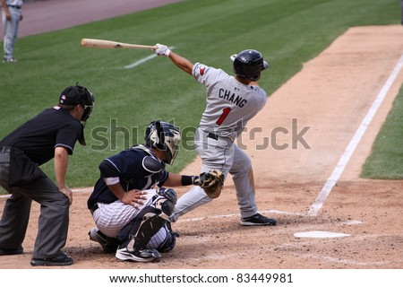 SCRANTON, PA - AUGUST 24: Rochester Red Wings batter Ray Chang swings at a pitch during a game against the Scranton Wilkes Barre Yankees at PNC Field on August 24, 2011 in Scranton, PA. - stock photo