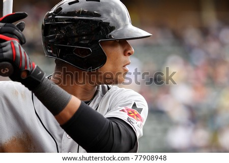SCRANTON, PA - MAY 24:Indianapolis Indians center fielder Gorkys Hernandez steps up to the plate in a game against the Scranton Wilkes Barre Yankees at PNC Field on May 24, 2011 in Scranton, PA. - stock photo