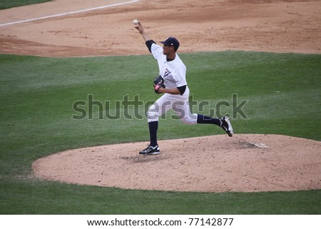 SCRANTON, PA - MAY 8: Scranton Wilkes Barre Yankees pitcher Hector Noesi throws a pitch in a game against the Pawtucket Red Sox at PNC Field on May 8, 2011 in Scranton, PA. - stock photo