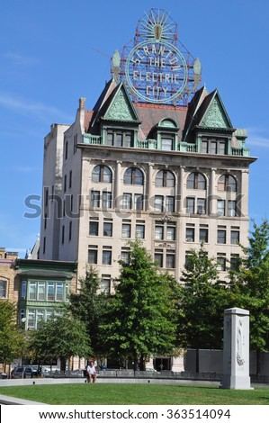SCRANTON, PA - SEP 26: Scranton Electric Building in Scranton, PA, as seen on Sep 26, 2015. The Electric City sign remained unlit for many years but in 2004 it was restored. - stock photo