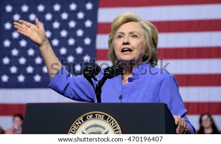 SCRANTON, PA, USA - AUGUST 15, 2016: Democratic presidential nominee Hillary Clinton speaks with the American Flag in the background at a campaign rally at Riverfront Sports.