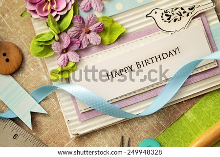 scrap booking greeting card details - stock photo