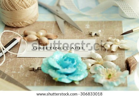scrap booking - making of greeting card - stock photo
