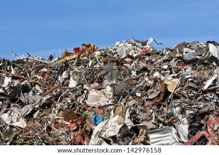 Scrap metal, iron and computer dump - stock photo