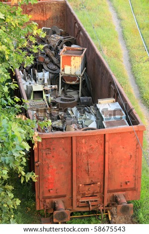 Scrap metal loaded on a train carriage