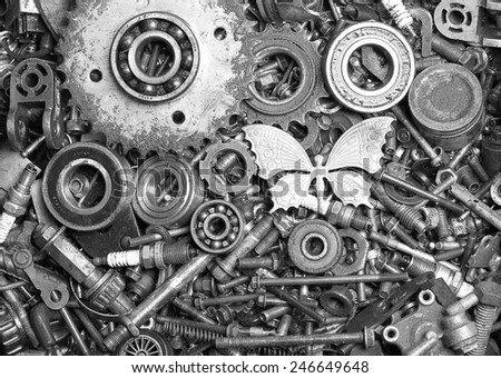 Scrap Metal old rusty ball bearing waste iron metals - stock photo