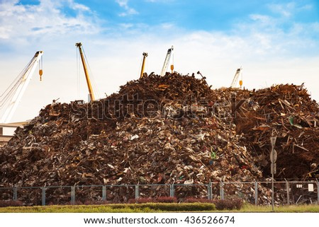 Scrap metal ready for recycling - Industry area. - stock photo