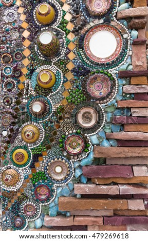 scrap of bowls used for decorative walls,texture background, Wat Phasornkeaw, Phetchabun, Thailand