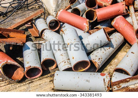 Scrap piping in construction site.