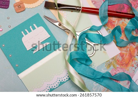 scrapbook background. Card and tools with decoration  - stock photo