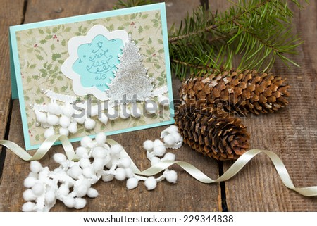 scrapbook background. christmas card and tools with decoration   - stock photo