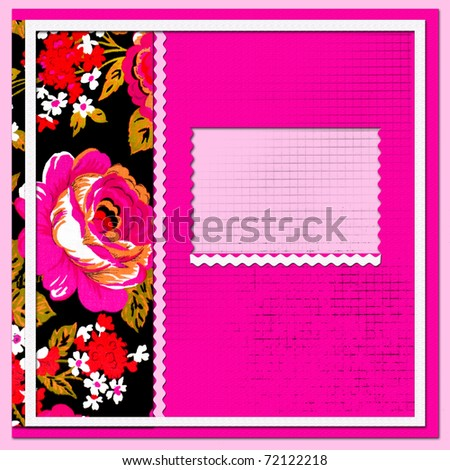 scrapbook page with beautiful flowers - stock photo