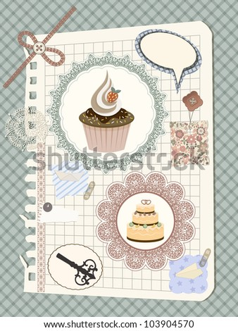 scrapbook with nakin and cakes, toys, and other design elements