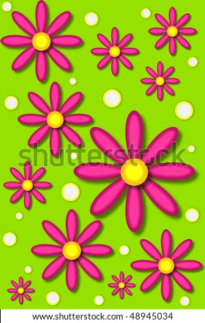 Scrapbooking background has hot pink daisies and white dots backed by lime green. - stock photo