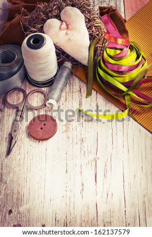 Scrapbooking Craft Materials Background Sewing Tools Stock Photo