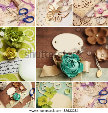 scrapbooking craft materials collage - stock photo