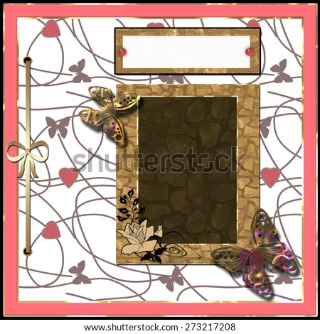 Scrapbooking frame, ribbon, dividers and decorations elements - stock photo